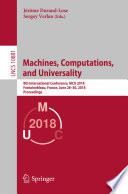 Machines  Computations  and Universality Book