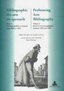 Pdf Bibliographie Des Arts Du Spectacle