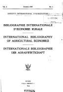 Bibliographie Internationale D   conomie Rurale