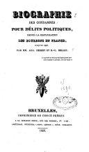 Biographie des condamnés pour délits politiques depuis la restauration des Bourbons en France, jusqu'en 1817