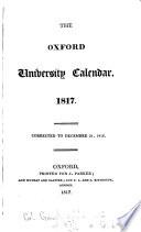 The Oxford University Calendar 1817