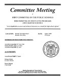 Committee Meeting of Joint Committee on the Public Schools  Subcommittee on Innovative Programs and Charter Schools
