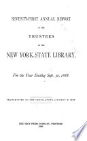 Annual Report Of The Trustees Of The State Library