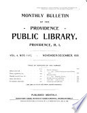 Monthly Bulletin of the Providence Public Library ...