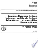 Lawrence Livermore National Laboratory And Sandia National Laboratories Livermore Sites