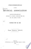 Proceedings of the Royal Musical Association