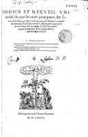 Indice et recueil universel de tous les mots principaux des livres de la Bible...