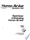 Experiences In Evaluating Human Services