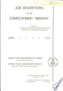 Job Descriptions for the Confectionery Industry Book