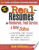 Real-resumes for Restaurant, Food Service & Hotel Jobs–