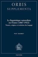 La linguistique naturaliste en France (1867-1922)