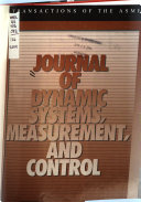 Journal Of Dynamic Systems Measurement And Control Book PDF