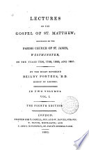 Lectures on the Gospel of st. Matthew