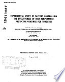 Experimental Study of Factors Controlling the Effectiveness of High-temperature Protective Coatings for Tungsten