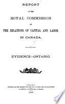 Report of the Royal Commission on the Relations of Labor and Capital in Canada