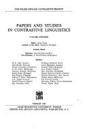 Papers and Studies in Contrastive Linguistics