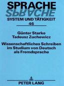 Wissenschaftliches Schreiben im Studium von Deutsch als Fremdsprache
