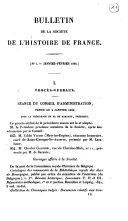 Bulletin de la Société de l'Hstoire de France