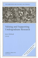 Valuing and Supporting Undergraduate Research Book