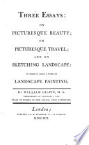 three essays on picturesque beauty on picturesque travel and on  front cover
