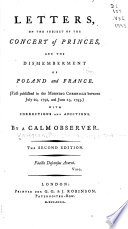 Letters  on the Subject of the Concert of Princes  and the Dismemberment of Poland and France