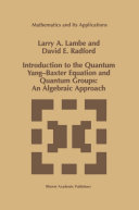 Introduction to the Quantum Yang Baxter Equation and Quantum Groups  An Algebraic Approach
