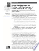 Ozone Applications for Postharvest Disinfection of Edible Horticultural Crops Book