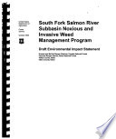 Payette National Forest N F Boise National Forest N F South Fork Salmon River Subbasin Noxious And Invasive Weed Management Program