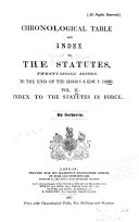 Chronological Table and Index of the Statutes