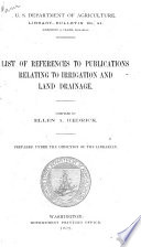 List Of References To Publications Relating To Irrigation And Land Drainage