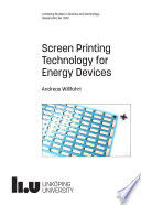 Screen Printing Technology for Energy Devices