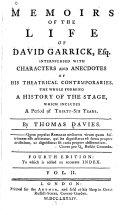 Memoirs of the Life of David Garrick  Esq