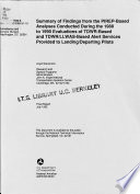 Summary of Findings from the PIREP-based Analyses Conducted During 1988 to 1990 Evaluations of TDWR-based and TDWR/LLWAS-based Alert Services Provided to Landing/departing Pilots