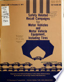 Safety Related Recall Campaigns for Motor Vehicles and Motor Vehicle Equipment  Including Tires Book PDF
