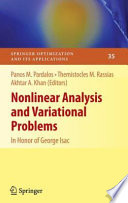 Nonlinear Analysis and Variational Problems Book
