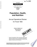 Population  health  and nutrition   fiscal 1991 sector review Book PDF