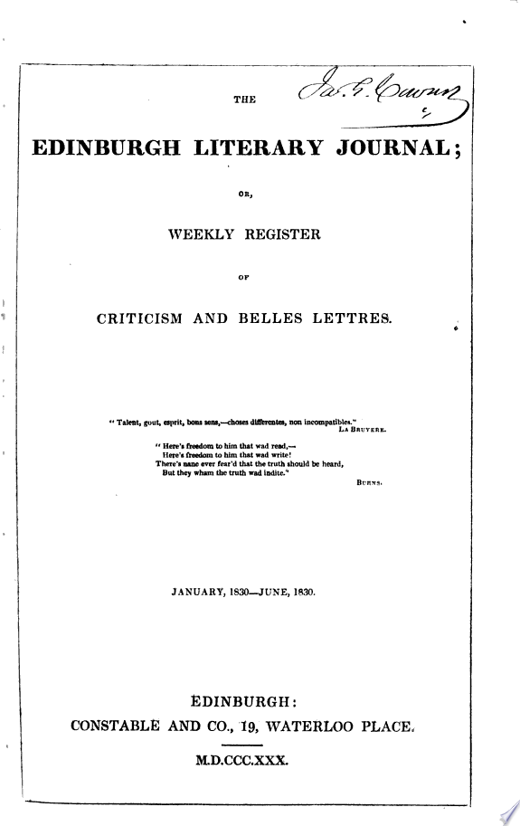 The Edinburgh literary journal  or  Weekly register of criticism and belles lettres