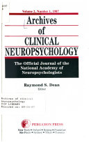 Archives of Clinical Neuropsychology