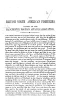 The British North American Fisheries  Report of the Manchester Foreign Affairs Association