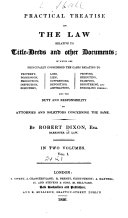 A Practical Treatise on the Law Relative to Title-deeds and ...