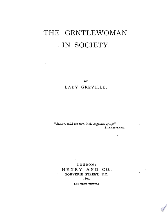 The Gentlewoman in Society