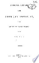 Annual Report of the American Institute of the City of New York Book