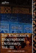 Pdf Ibn Khallikan's Biographical Dictionary Telecharger
