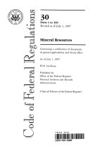 Code of Federal Regulations  Title 30  Mineral Resources  Pt  1 199  Revised as of July 1 2007