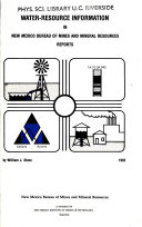 Water resource Information in New Mexico Bureau of Mines and Mineral Resources Reports