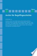Archiv für Begriffsgeschichte. Band 60/61