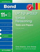Bond Up to Speed Verbal Reasoning Tests and Papers 8-9 Years