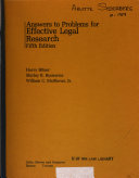 Answers to Problems for Effective Legal Research