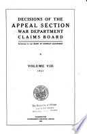 Decisions of the Appeal Section  War Department  Claims Board Book PDF
