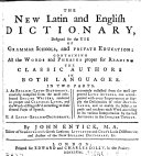 The New Latin and English Dictionary